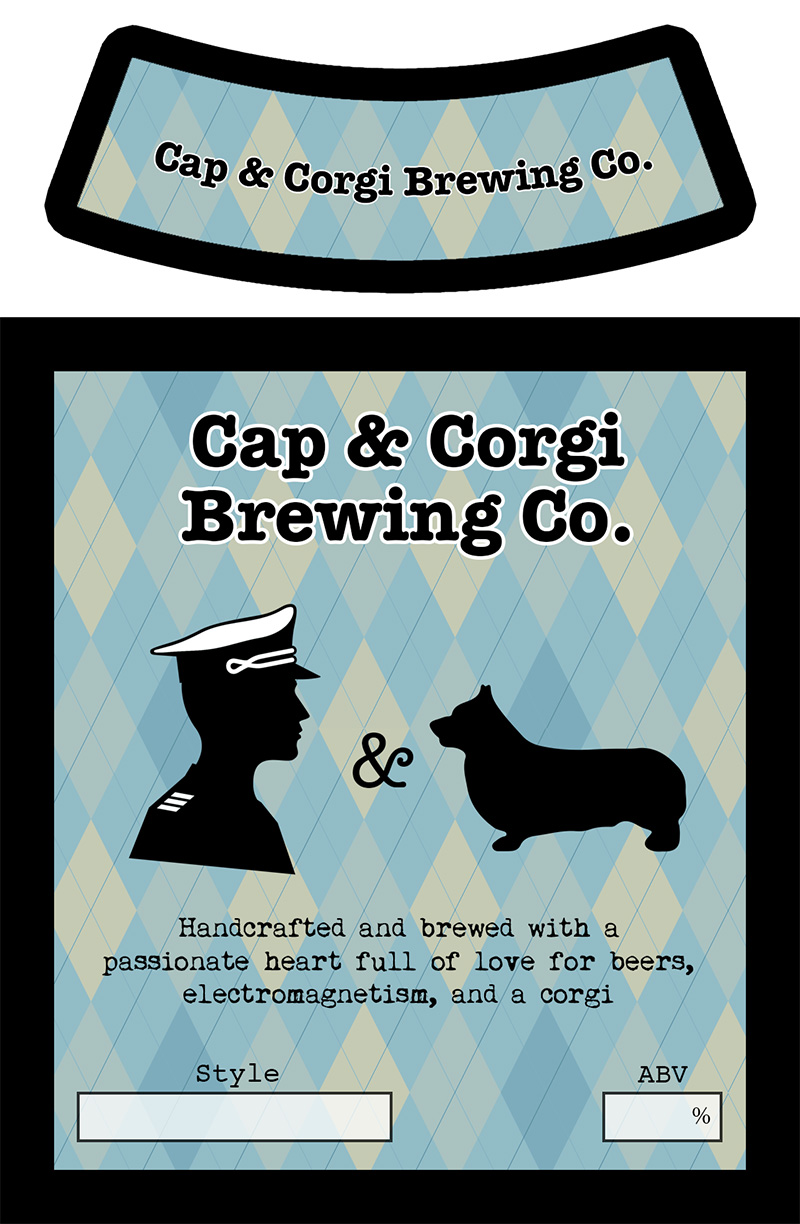 Cap and corgi beer label